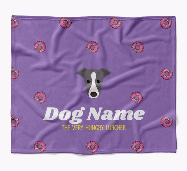 Personalized 'The Very Hungry Lurcher' Blanket with Doughnut Print