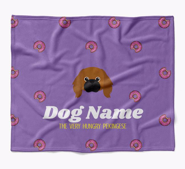 Personalized 'The Very Hungry Pekingese' Blanket with Doughnut Print