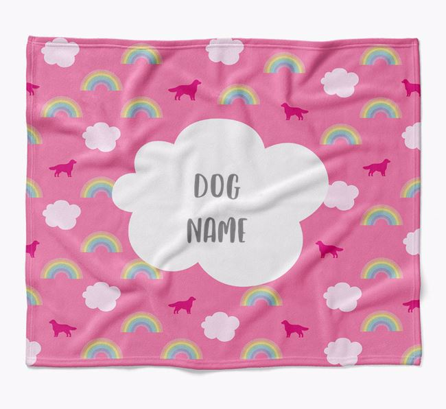 Personalized Rainbow Blanket with Flat-Coated Retriever Silhouettes