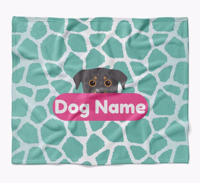 Personalized Giraffe Print Blanket with Beauceron Icon