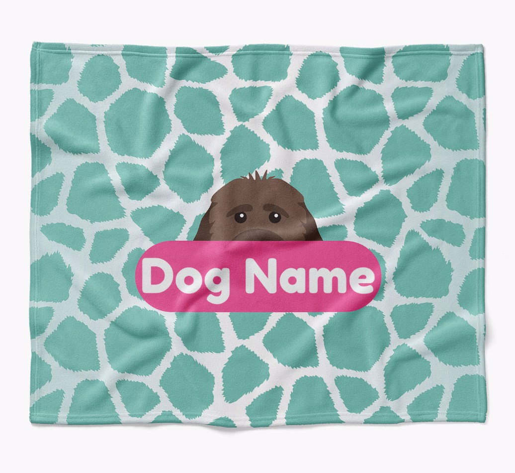 Personalized Giraffe Print Blanket with Cockapoo Icon in {colour} flat