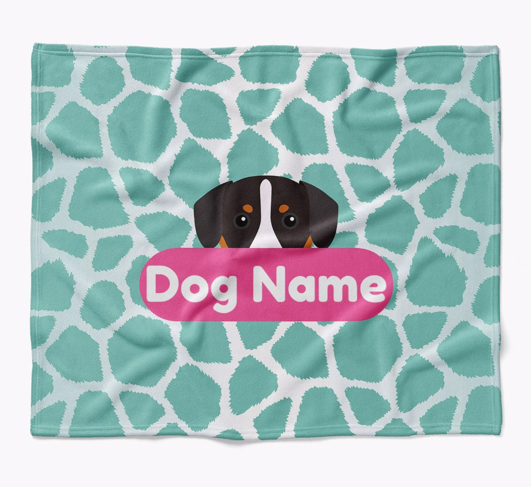 Personalized Giraffe Print Blanket with Entlebucher Mountain Dog Icon in {colour} flat