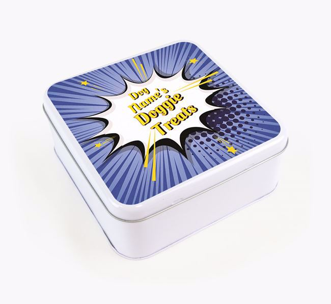 Comic Bang Square Tin for your Bedlington Terrier's Treats
