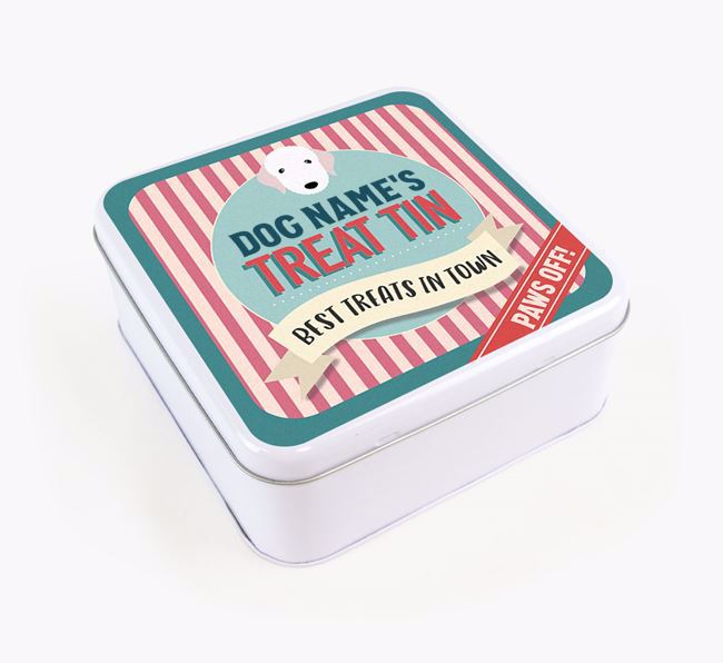 'Best Treats in Town' Square Tin for your Bedlington Terrier