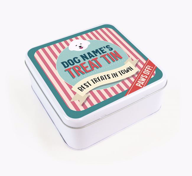 'Best Treats in Town' Square Tin for your Bichon Frise