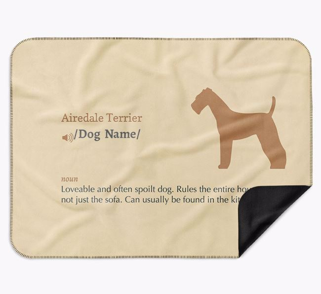 Personalised Definition Blanket with Airedale Terrier Silhouette