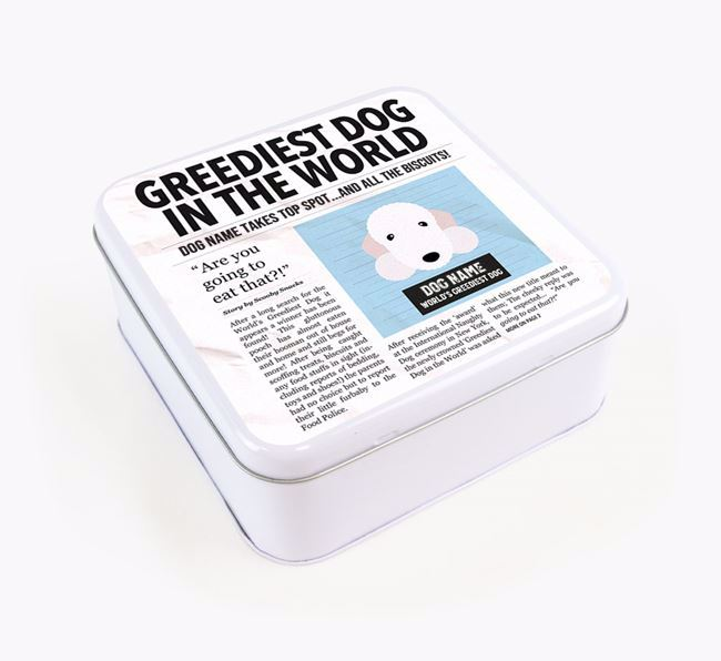 Personalised 'Greediest Dog' Newspaper Print Square Tin for your Bedlington Terrier