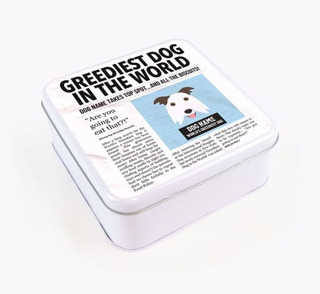 Personalised 'Greediest Dog' Newspaper Print Square Tin for your Border Collie