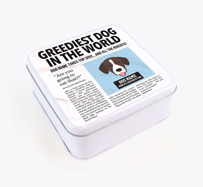 Personalised 'Greediest Dog' Newspaper Print Square Tin for your Springador