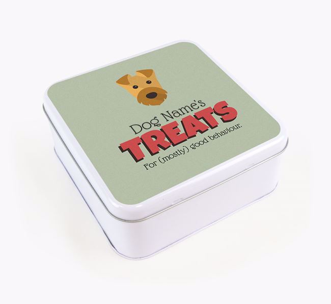 Personalised Retro Design Square Tin for your Airedale Terrier