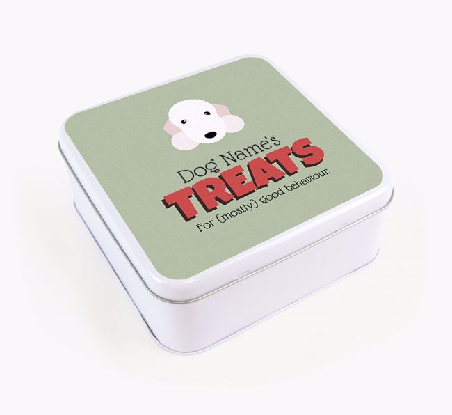 Personalised Retro Design Square Tin for your Bedlington Terrier