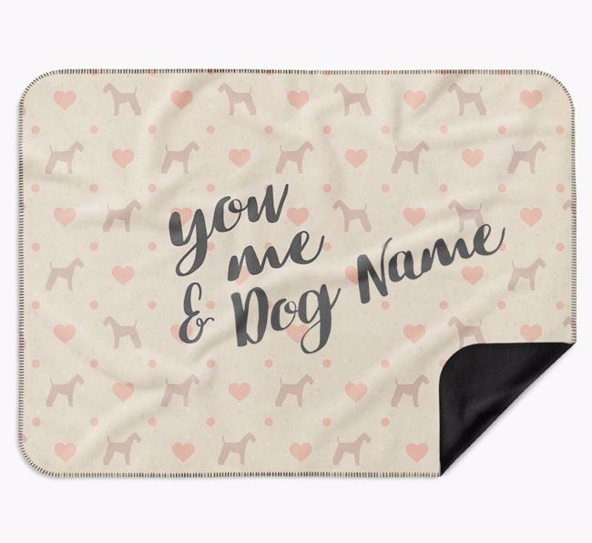Personalised Hearts Blanket with Airedale Terrier Silhouettes