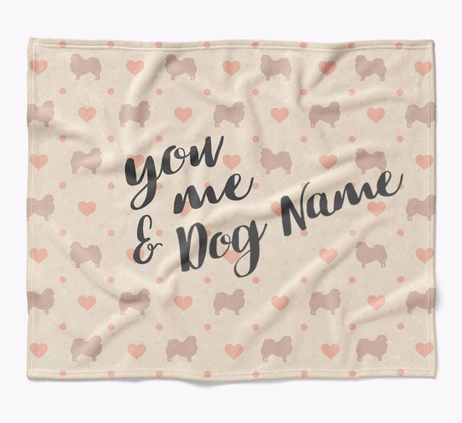 Personalized Hearts Blanket with Pekingese Silhouettes