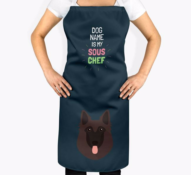 ' is my Sous Chef' Apron with Belgian Shepherd Icon