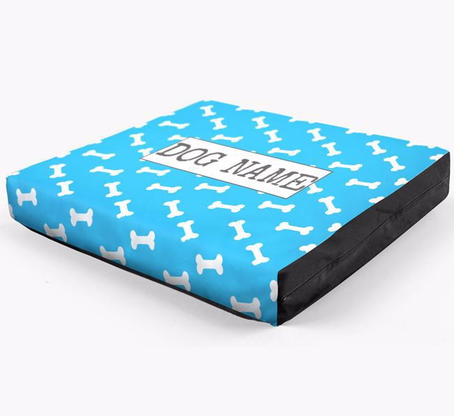 Personalised Dog Bed with Bone Pattern for your Bichon Frise