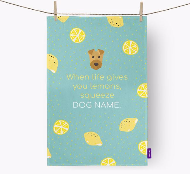Personalised 'When Life Gives You Lemons' Tea Towel with Airedale Terrier Icon