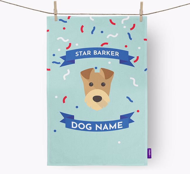 Personalised 'Star Barker' Tea Towel with Airedale Terrier Icon